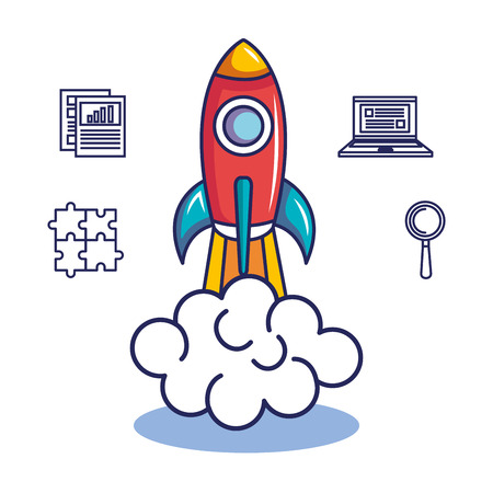 Ilustración de Rocket and hand drawn start up business related objects over white background - Imagen libre de derechos