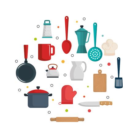 Illustration pour Colorful kitchenware items over white background vector illustration - image libre de droit