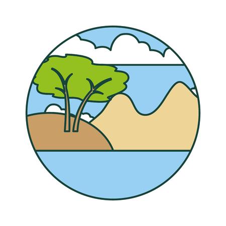 Illustration for beautiful landscape with lake vector illustration design - Royalty Free Image