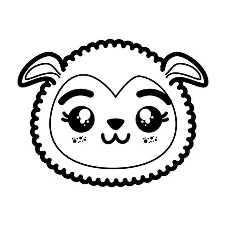 Ilustración de isolated cute sheep face icon vector illustration graphic design - Imagen libre de derechos