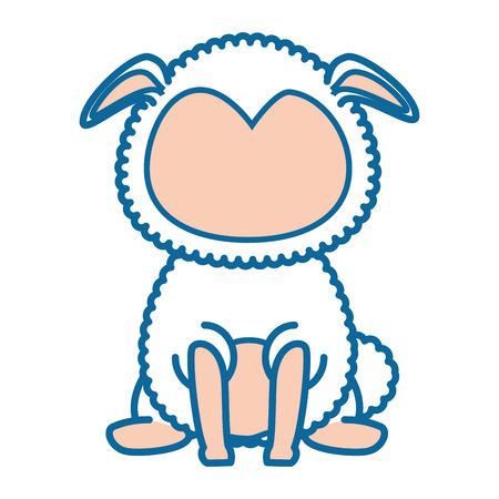Ilustración de isolated cute standing sheep icon vector illustration graphic design - Imagen libre de derechos