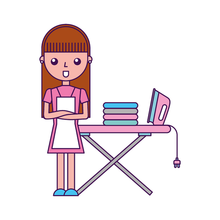 Illustration pour Housewife with ironing board vector illustration design - image libre de droit
