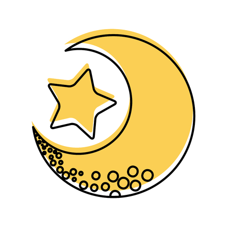 Illustration pour cute moon with star vector illustration design - image libre de droit