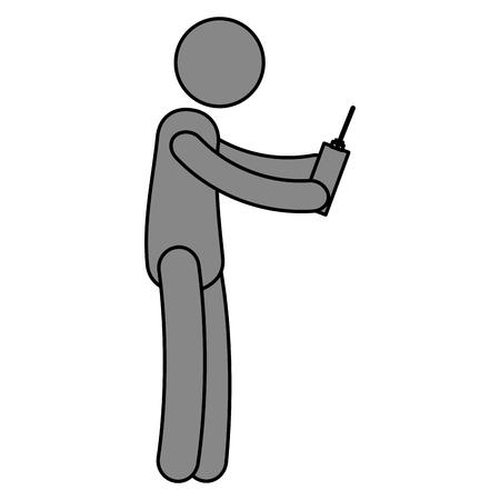 Illustration pour human figure with drone control vector illustration design - image libre de droit
