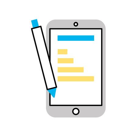 Illustration pour smartphone device with statistics vector illustration design - image libre de droit