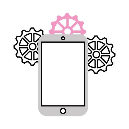 Illustration pour smartphone device with gear vector illustration design - image libre de droit