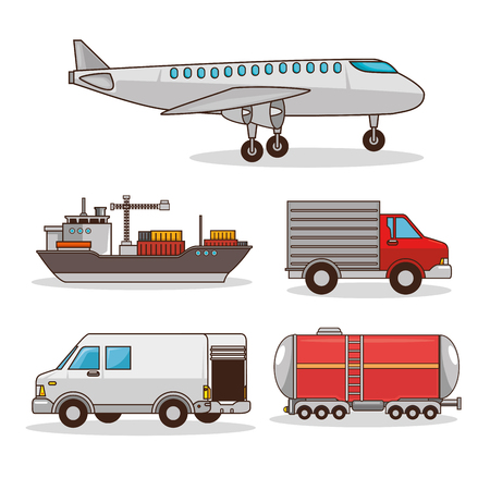 Photo for set of means of transportation vector illustration graphic design - Royalty Free Image