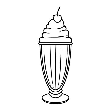 Illustration pour sweet milkshake icon over white background vector illustration - image libre de droit
