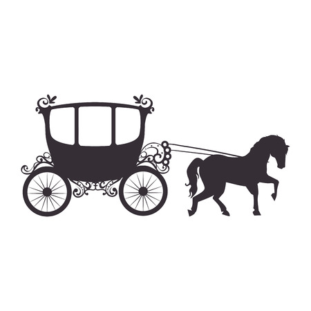 Ilustración de medieval carriage icon over white background vector illustration - Imagen libre de derechos