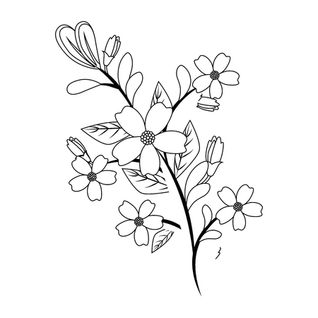 Illustration pour Beautiful flowers gardening over white background vector illustration - image libre de droit