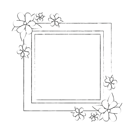 Ilustración de decorative frame with flowers over white background icon - Imagen libre de derechos