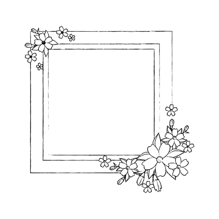 Illustration for decorative frame with flowers over white background icon - Royalty Free Image