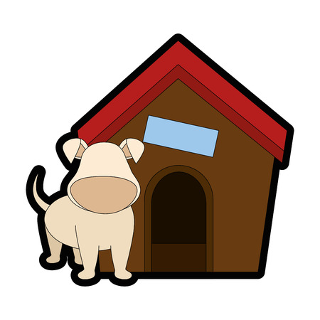 Illustrazione per dog house and puppy icon over white backgorund vector illustration - Immagini Royalty Free