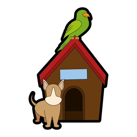 Illustrazione per dog house with puppy and parrot icon over white backgorund vector illustration - Immagini Royalty Free