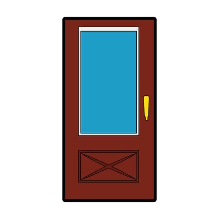 Ilustración de house door icon over white background vector illustration - Imagen libre de derechos