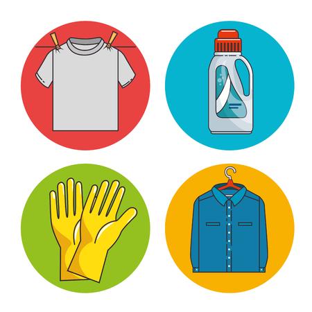 Ilustración de laundry icon set vector illustration graphic design - Imagen libre de derechos