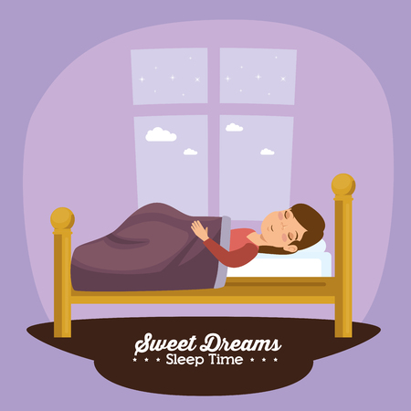 Illustration for sweet dreams sleeping time concept vector illustration graphic design - Royalty Free Image