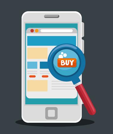 Ilustración de E-commerce concept online shopping infographic vector illustration graphic design - Imagen libre de derechos