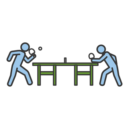 Ilustración de ping pong players with table silhouette vector illustration design - Imagen libre de derechos