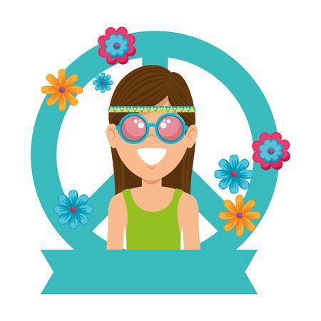 Illustration pour Hippie woman cartoon icon vector illustration graphic design - image libre de droit