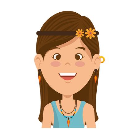 Illustration pour Hippie woman cartoon icon vector illustration graphic design. - image libre de droit