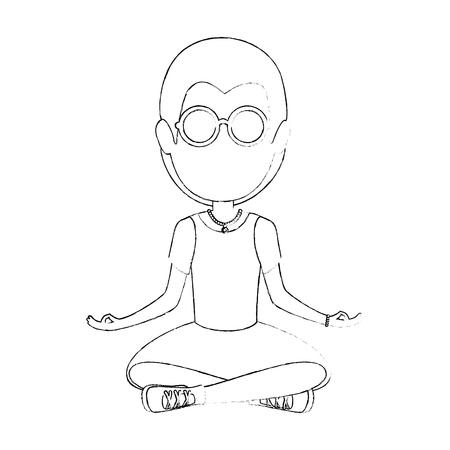 Illustration pour Hippie man cartoon icon vector illustration graphic design - image libre de droit