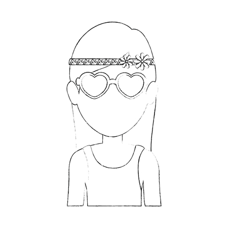 Illustration pour Hippie woman cartoon icon vector illustration graphic design - image libre de droit