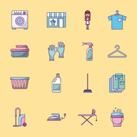 Illustration pour Icon set laundry cleaning delicate vector illustration design graphic - image libre de droit