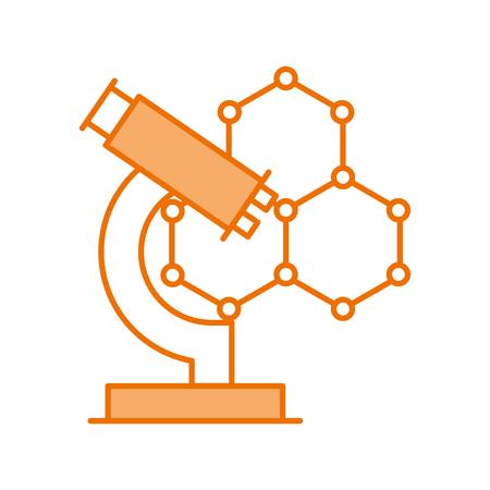 Illustration pour structure molecular with microscope vector illustration design - image libre de droit
