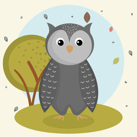 Illustration pour cartoon owl wild animal with falling leaves landscape nature vector illustration - image libre de droit