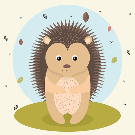 Illustration pour cartoon hedgehog wild animal with falling leaves landscape nature vector illustration - image libre de droit