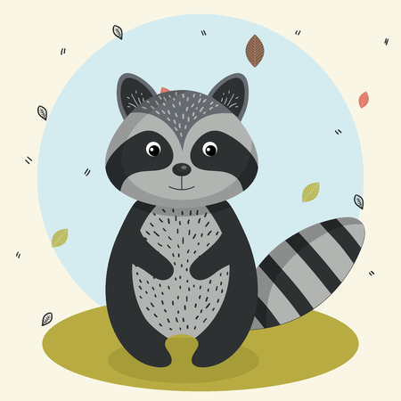 Illustration pour cartoon raccoon wild animal with falling leaves landscape nature vector illustration - image libre de droit