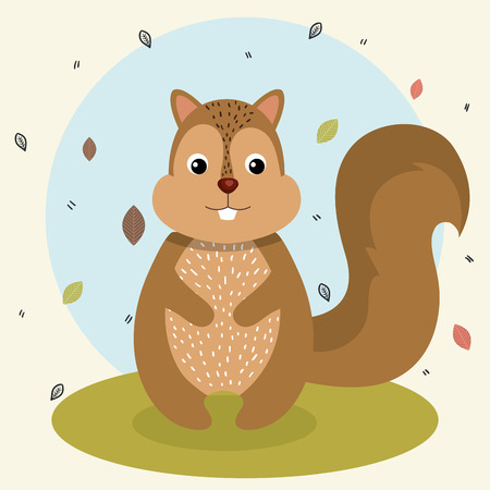 Illustration pour cartoon squirrel wild animal with falling leaves landscape nature vector illustration - image libre de droit