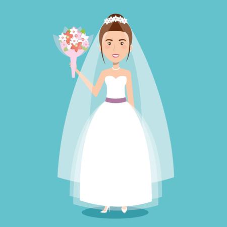Ilustración de beautiful bride in a wedding dress and bouquet celebration vector illustration - Imagen libre de derechos