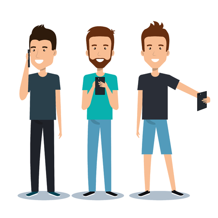 Illustration pour group of different young using mobile phones socializing on internet vector illustration - image libre de droit