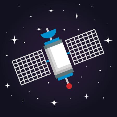 Illustration pour satellite wireless technology communication world global net vector illustration - image libre de droit
