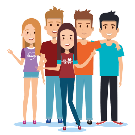 Ilustración de group of happy people friends together in casual clothes on a white background vector illustration - Imagen libre de derechos