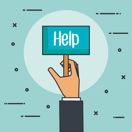 Illustration pour hands holding placard for message help donation concept vector illustration - image libre de droit