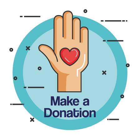 Ilustración de charity emblem hands holding heart icon vector illustration - Imagen libre de derechos