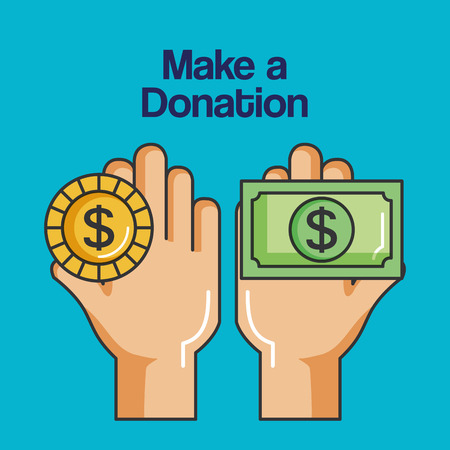 Illustration for make a donation sign hands holding coin and banknote vector illustration - Royalty Free Image