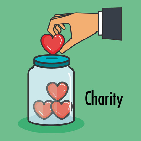 Illustration for charity and donation give and share your love to poor people vector illustration - Royalty Free Image