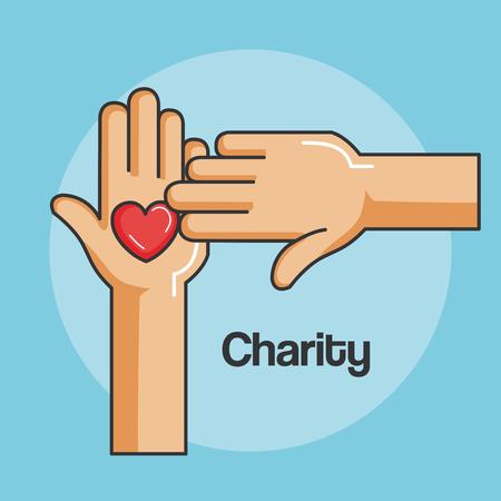 Ilustración de hands and heart icon of kindness and charity vector illustration - Imagen libre de derechos