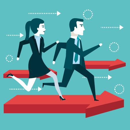 Ilustración de business people man and woman running financial arrow success vector illustration - Imagen libre de derechos
