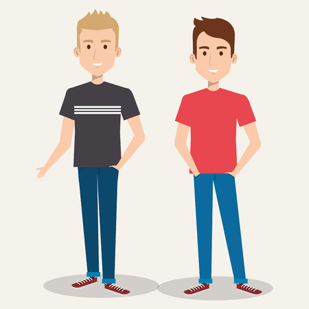 Illustration for two friendly man students friends together young vector illustration - Royalty Free Image