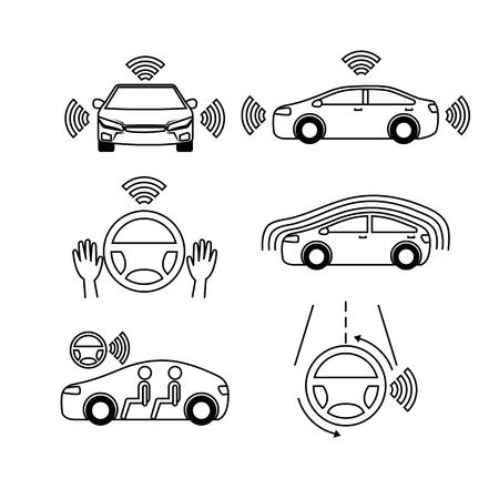 Illustration pour remote sensing system of smart car vehicle front view vector illustration - image libre de droit