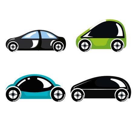 Ilustración de set futuristic modern car vehicles innovation vector illustration - Imagen libre de derechos