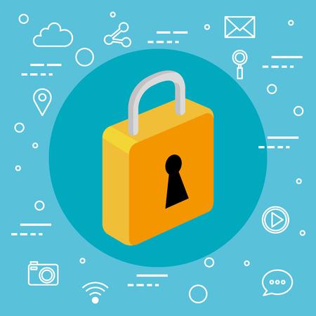 Ilustración de security technology system information app vector illustration - Imagen libre de derechos