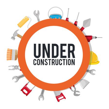 Ilustración de under construction poster tools repair build vector illustration - Imagen libre de derechos