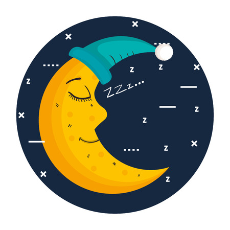 Ilustración de sleeping moon in nightcap isolated on blue background vector illustration - Imagen libre de derechos