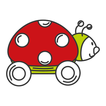 Illustration pour ladybug with wheels icon vector illustration design - image libre de droit